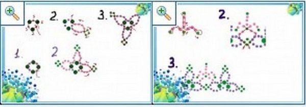 Схеми: плетіння трилисників. Фото з сайту http://biseroclub.forumy2x2.ru