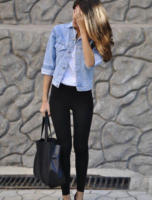 Як поєднувати джинсову сорочку і легінси