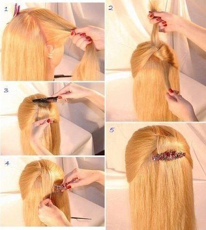 Швидка зачіска на середні волосся з шпилькою