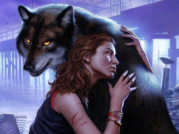 Незвичайне зображення дівчини з вовком